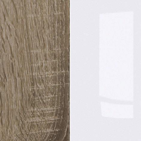 Dark Sonoma Oak / White High Gloss