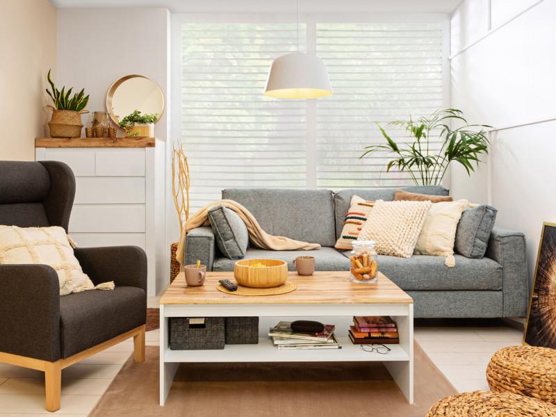 Scandinavian Rectangular Coffee Occasional Table with Storage Shelf White & Oak finish - Holten (S440-LAW/110-BI/DWO-KPL01)