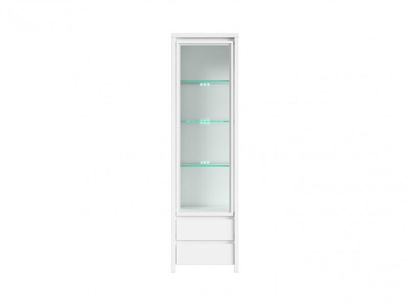 White Matt Glass Display Cabinet Dresser - Kaspian (S128-REG1W2S-BI/BI-KPL01)