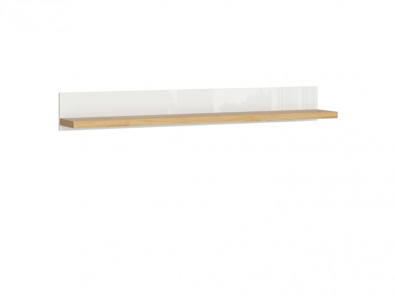Modern White matt / Oak finish Wall Mounted Display Panel Shelf Unit 150cm - Erla (S426-POL/158-BI / DMV / BIP)