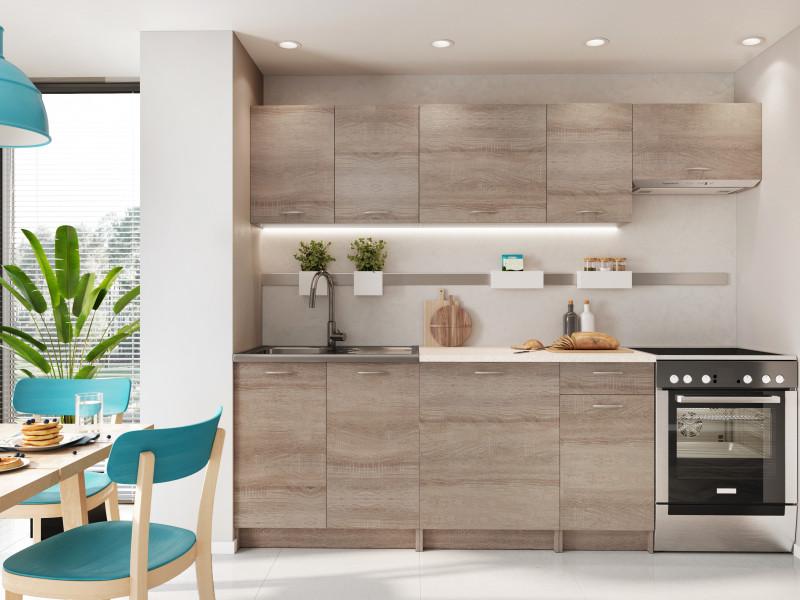 Complete Kitchen Set of 7 Cabinets Units Flat Pack in Truffle Dark Oak – Nela 2 (STO-NELA_SET-7UNITS_1.8/2.4-TRU)