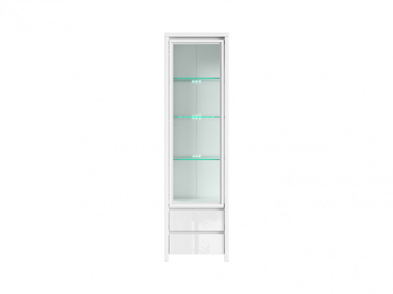 White Gloss Glass Display Cabinet Dresser - Kaspian W (REG1W2S)