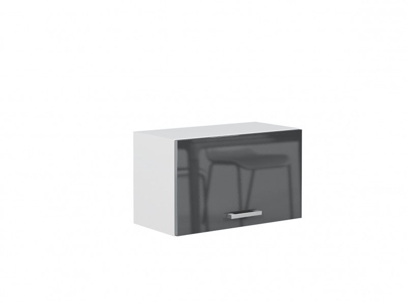 Grey Gloss Kitchen Extractor Housing Wall Hung Cabinet 60cm 600mm Unit - Modern Luxe (STO-MODERN_LUX-W60_OK-GREY-KP01)