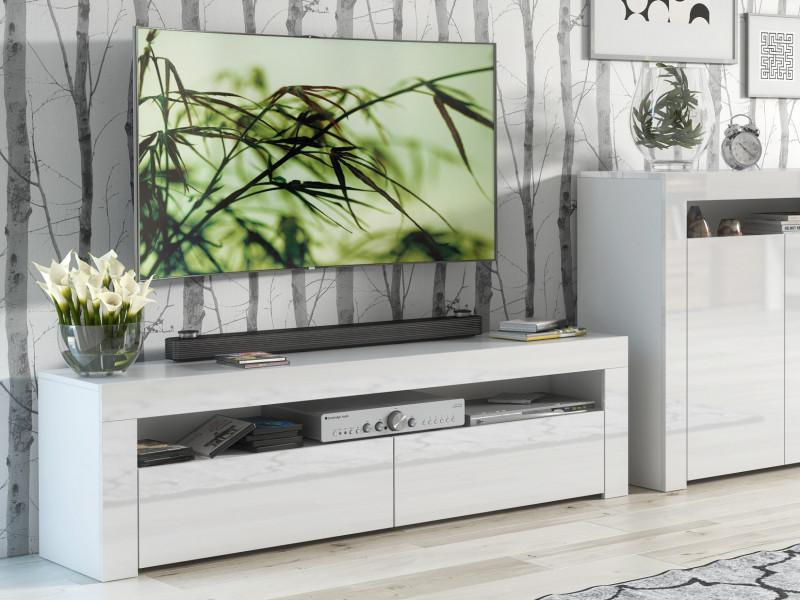 Modern White Gloss TV Cabinet Entertainment Stand Large Media Unit 155cm - Lily (HOF-LILY-RTV-155_BI-BIP-KP01)