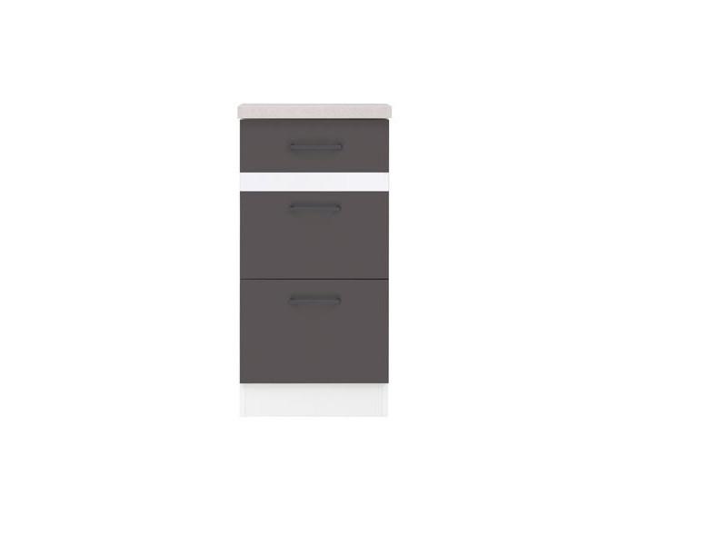 Modern Free Standing Kitchen Cabinet Cupboard Base 3-Drawer Unit 40cm - Grey Wolfram/White Gloss - Junona (K24-D3S/40/82-BI/SZW/INC-KPL01)