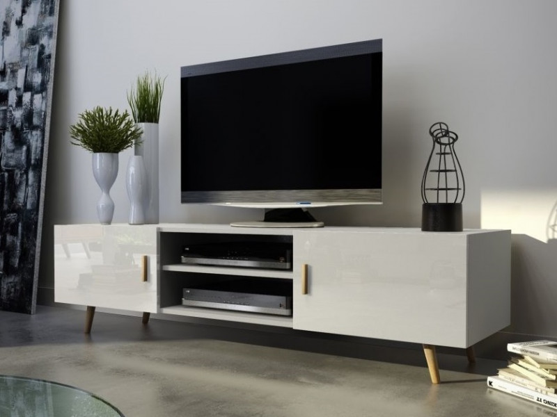 Top Scandinavian Retro Nordic TV Unit Cabinet White Gloss with LED  WD83