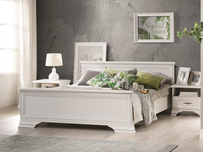 Classic White Matt European 160cm King Size Bed Frame Elegant Bed with Headboard, Solid Wood Slats - Idento (S320-LOZ/160-BI-KPL03+SLATS)