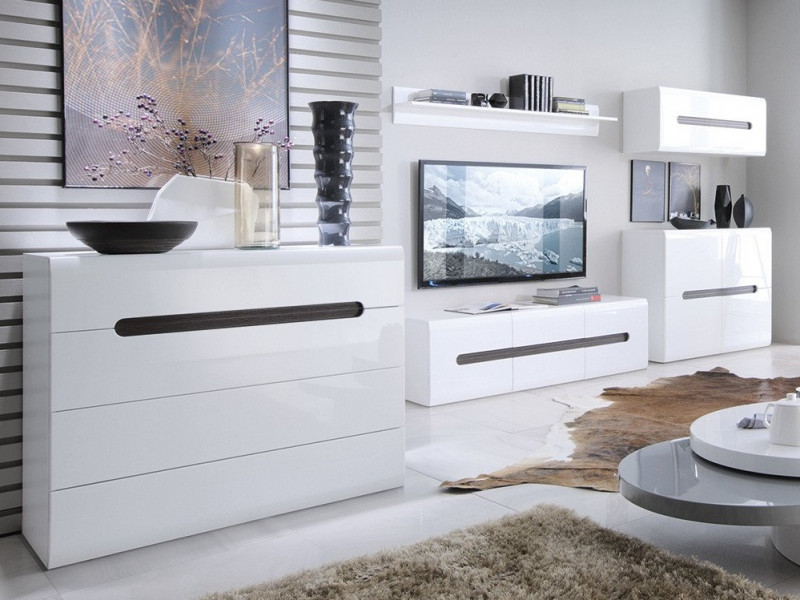 Modern White Gloss Living Room Furniture Set Tv Cabinet Wall Unit Sideboard Coffee Table Impact Furniture