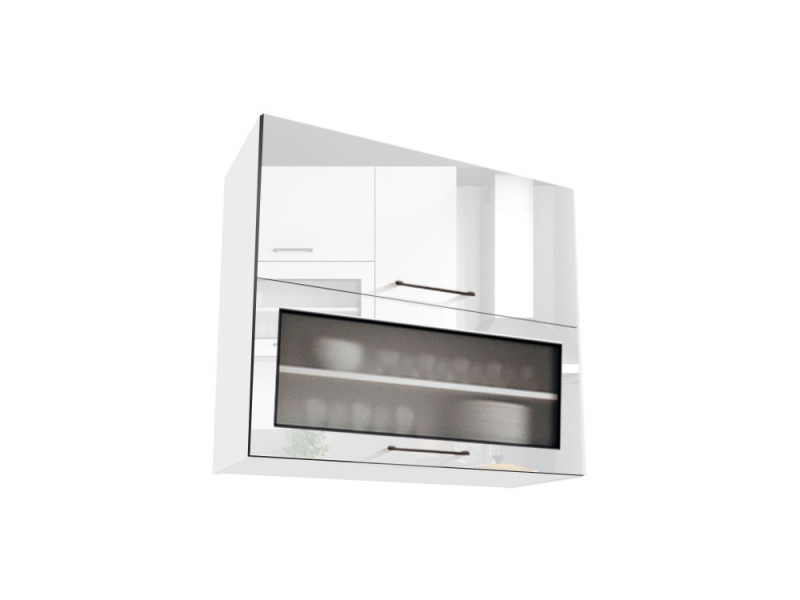 White High Gloss Glass Kitchen Wall Cabinet Cupboard Unit with Glass Doors 80cm - Roxi (STO-ROXI-WS80-GRF/2-BI-BIP-KP01)