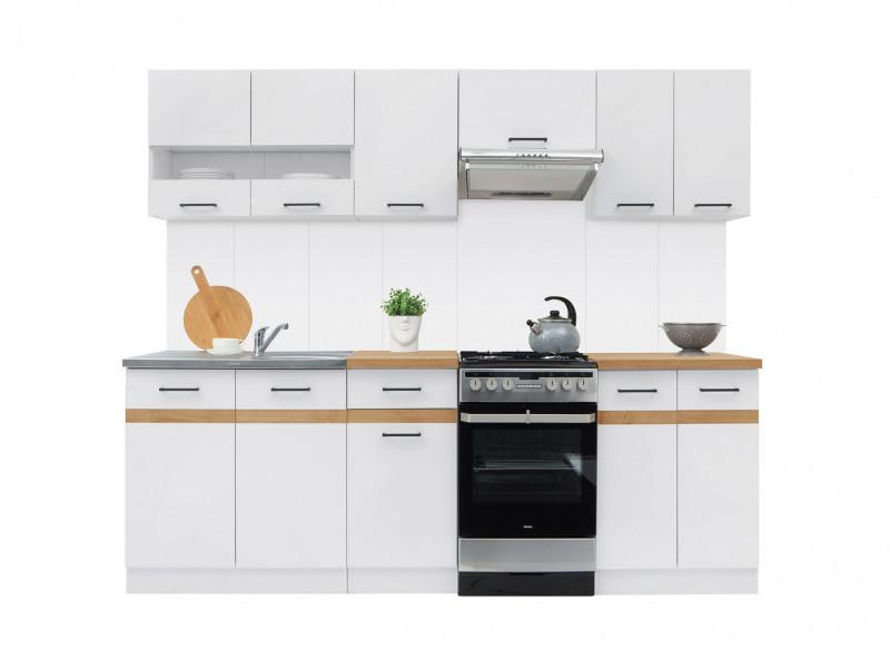 Free Standing White/White Gloss Cabinets Cupboards Set 7 Units - Junona (K24-JUNONA_MODUL/240-BI/BIP/DCRZ-KPL01)