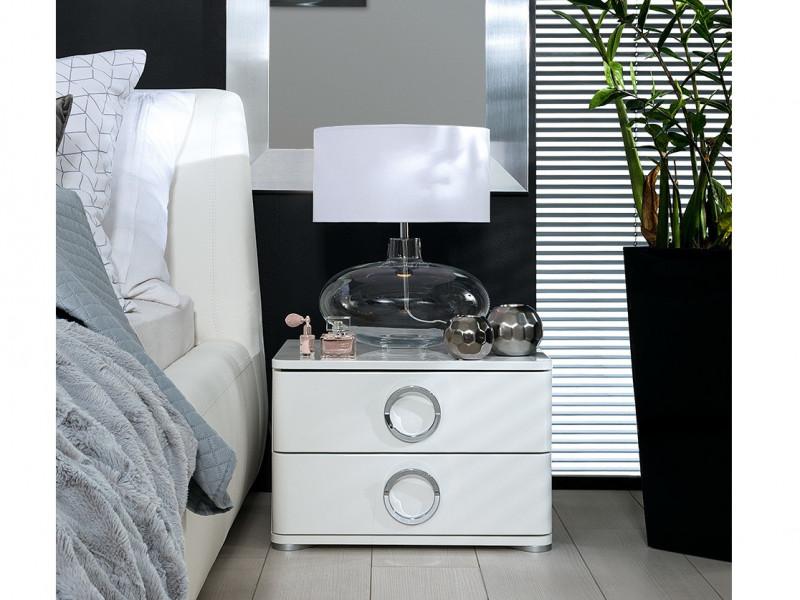Modern Bedroom 2-Drawer Bedside Cabinet Table Storage Unit Soft Closing White/White Gloss - Roksana (L20-KOM2S/4/5-BIPL/BI-KPL01)