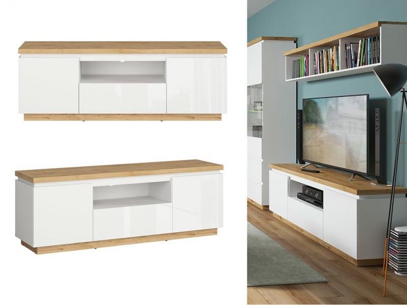 Modern White Gloss / Oak finish TV Cabinet Stand Unit with Soft Close Drawer - Erla (S426-RTV2D1S-BI/DMV/BIP-KPL01)