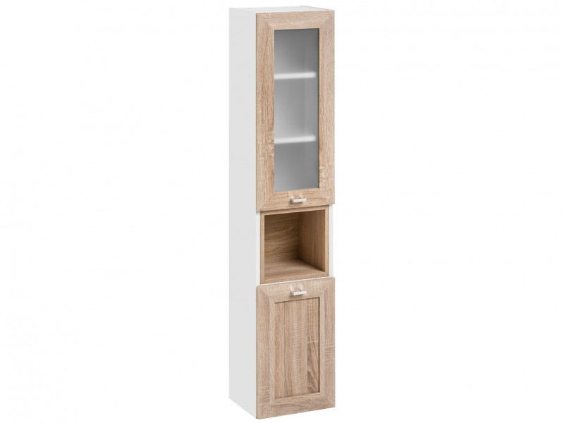 Modern Tall Wall Mounted Bathroom Cabinet Unit Wood Effect Sonoma Oak/White Matt - Finka (FINKA_800_SONOMA)