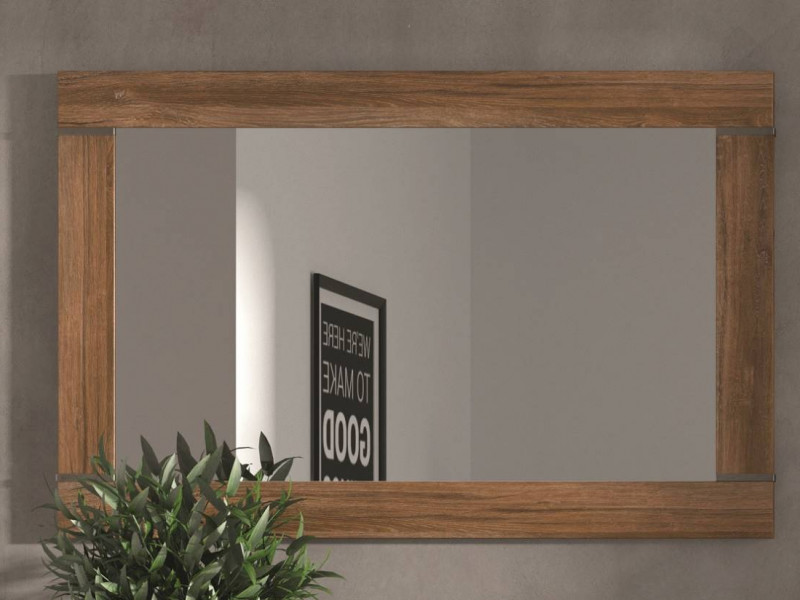 Modern Medium Oak Effect Surround Rectangular Frame Wall Hanging Mirror 101x66cm - Gent (M244-LUS/7/10-DAST-KPL01)