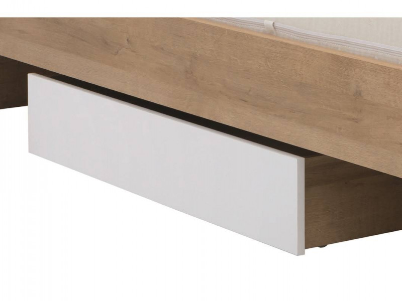 Modern Underbed Drawer on Wheels for Single Bed Frame Storage Unit Oak Effect and White Gloss - Balder (S382-SZU-DRI/BIP-KPL01)