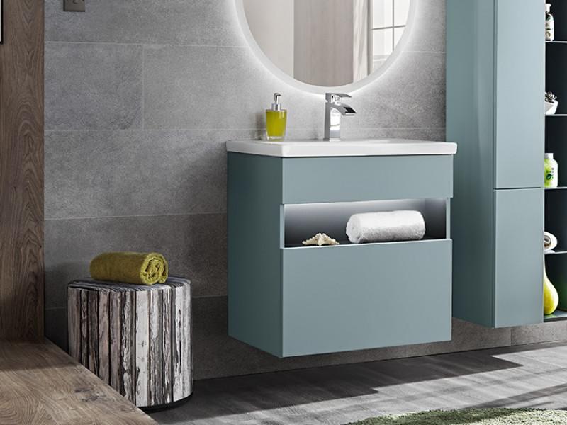Modern Mint Grey Wall Vanity Cabinet 600 Unit with Designer LED Light 60cm Ceramic Sink - Bahama (BAHAMA_820_MINT+UM-8070-60)