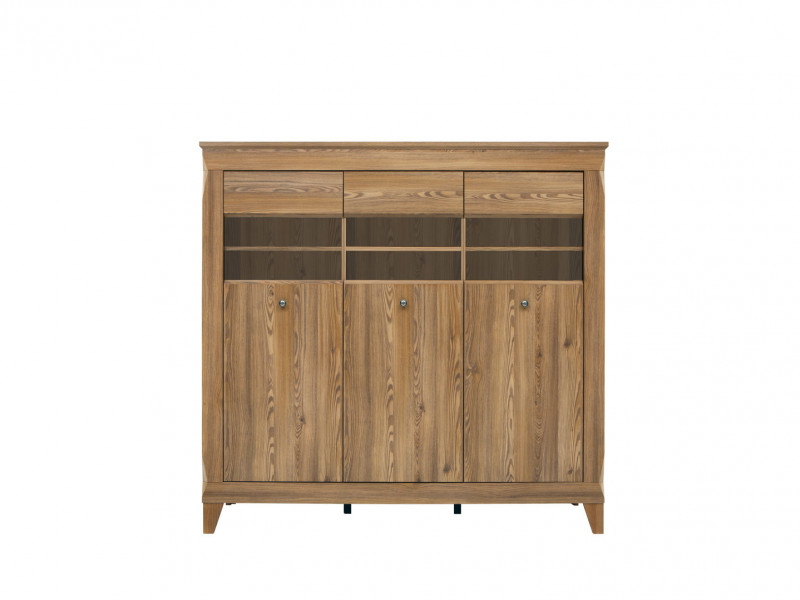 Traditional Wide Glass Display Cabinet Sideboard Oak finish - Bergen (REG3W)