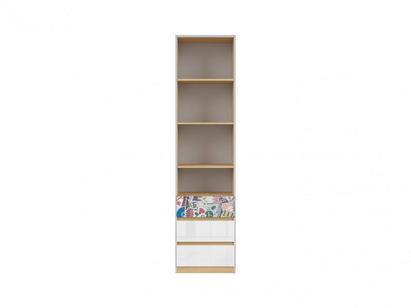 Modern Tall Storage Cabinet Shelves 3 Drawer Kids Bedroom Comic Emoji Insert White Gloss/Grey/Oak - Nandu (S441-REG3S-JSZ/DP/BIP/SCR-KPL01)