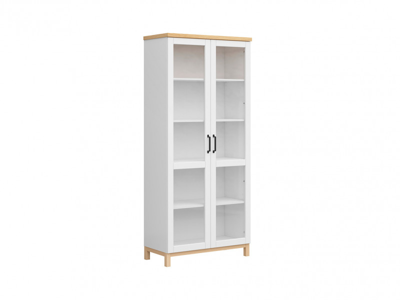 Glass Fronted Tall Display Cabinet with Shelves Doors Bookcase White Matt & Oak - Haga (S369-REG2W-BIM/BIC-KPL01)