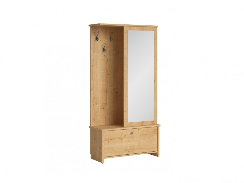 Compact Entrance Hall Hallway Furniture Set with Mirror Oak finish - Porto (S322-PPK/95-DBV-KPL01)