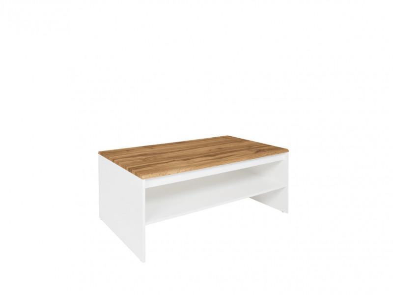 Scandinavian Rectangular Coffee Occasional Table with Storage Shelf White & Oak finish - Holten (S397-LAW/110-BI/DWO)