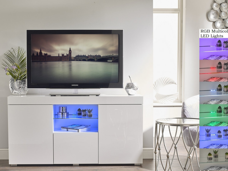 Modern Lowboard Sideboard Glass Display Cabinet Buffet White Gloss RGB LED lights - Lily (STO-LILYGLASS-BI/BIP-KP01-LED-RGB)