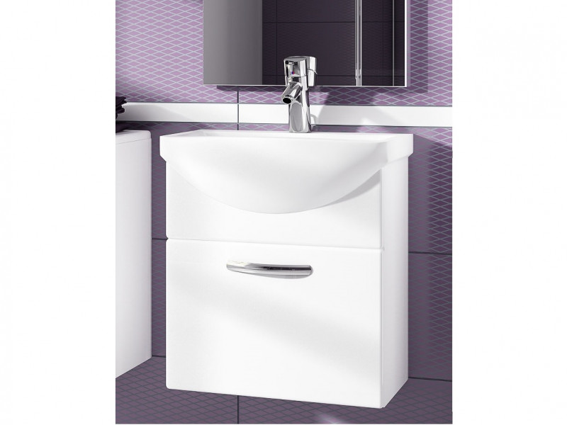 Wall Bathroom Vanity Unit Cabinet & Ceramic Sink Basin 550mm White Gloss - Coral (Coral DUM KALIA White)