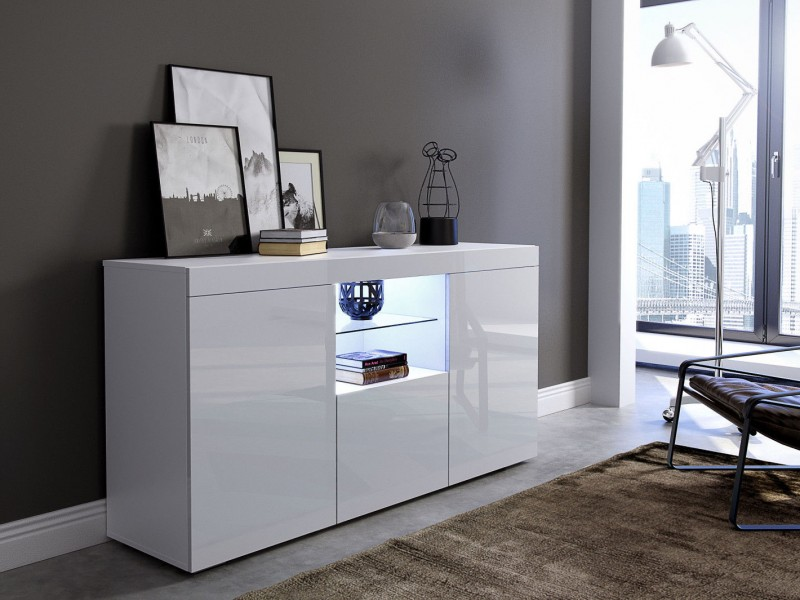 Modern Low Sideboard Display Cabinet Buffet White High Gloss LED lights - Viva (KOM3DVenice)