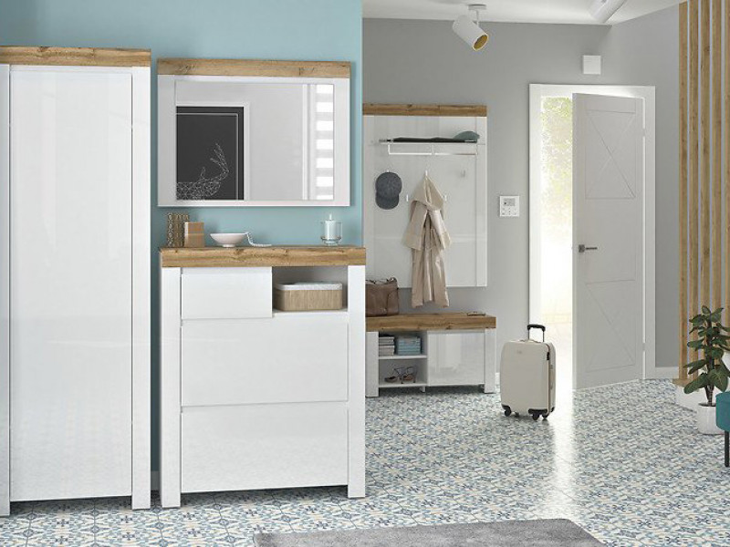 Scandinavian Hallway Set Coat Hooks Shoe Cabinet Mirror White Gloss/Oak - Holten (S440- HALL SET)
