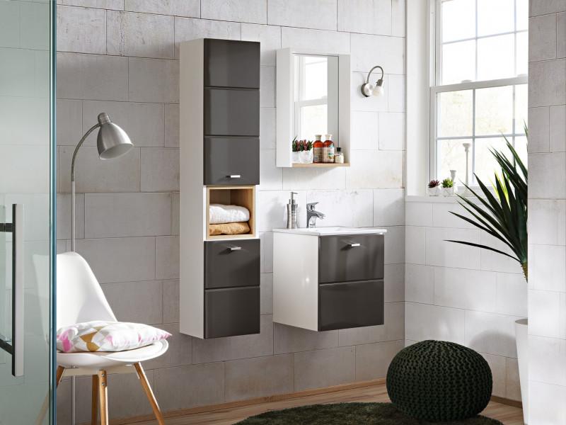 Modern Grey Gloss Bathroom Furniture Set 40cm Vanity Cabinet Wall Mounted Tall Unit Tallboy - Finka (FINKA_821_SET _GREY)