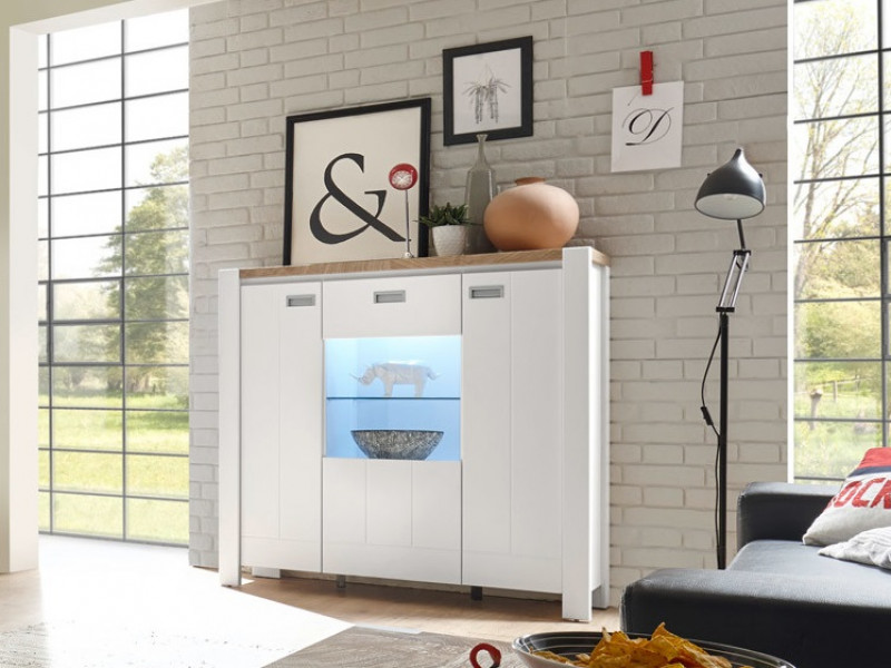 Country Glass 3-Door Display Cabinet Storage Unit with Lights White/Oak - Dreviso (S378-REG2D1W/125/123-BI/DWM/BI)