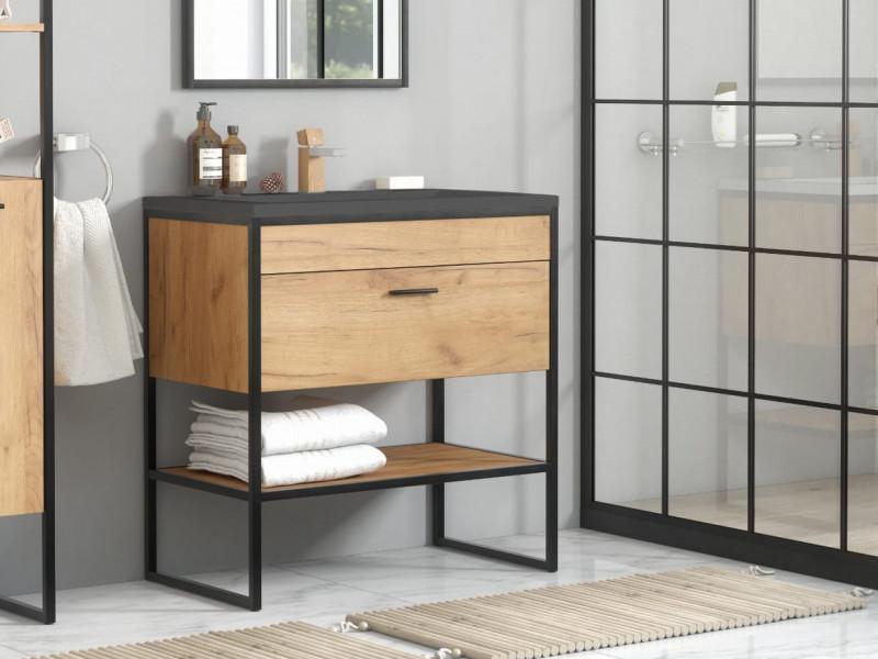 Modern Industrial Loft Vanity Bathroom 600 Cabinet Sink Unit 60cm Free Standing Oak Black Metal Frame - Brooklyn (BROOKLYN_820+E-8003-60_LAVA-BLACK)