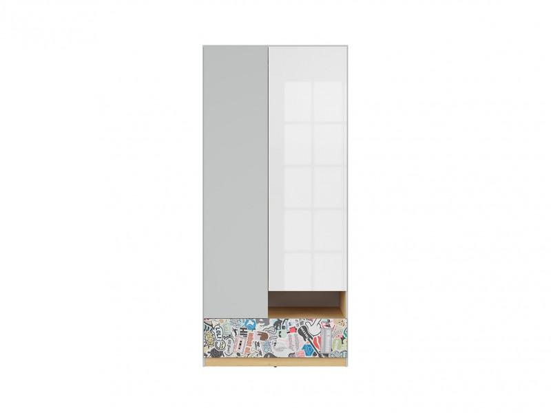 Modern 2-Door Wardrobe Drawer Kids Bedroom Storage Unit Emoji Comic Insert White Gloss/Grey/Oak - Nandu (S441-SZF2D1S-JSZ/DP/BIP/SCR-KPL01)