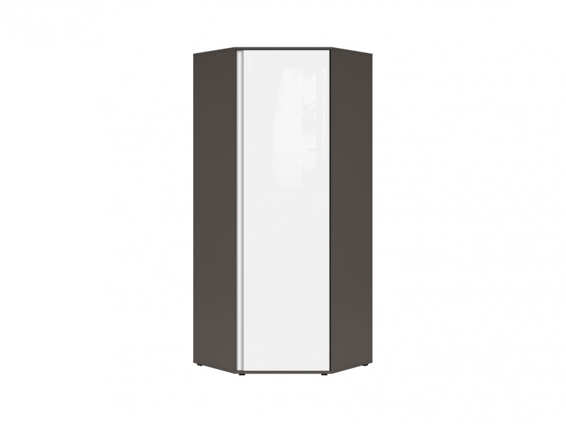 Modern Space Saving Corner Wardrobe Grey Matt and White Gloss Bedroom Reversible Colour Strip - Graphic (S343-SZFN1D/C-SZW/BLP-KPL01)
