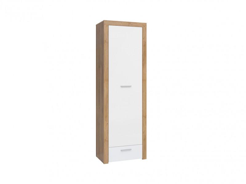 Modern Tall 1-Door Cabinet Storage Drawer Unit Oak/White Gloss - Balder (S382-REG1D1S-DRI/BIP-KPL01)