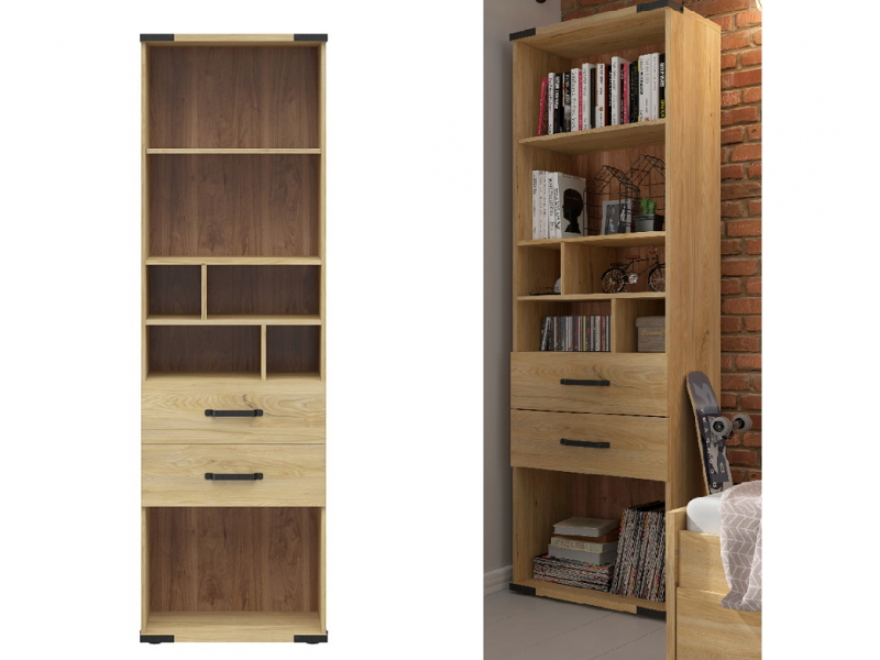 Modern Industrial Tall Storage Bookcase with Drawers and Shelf Compartments Shelving Unit Belarus Ash - Lara (S463-REG2S-JBE-KPL01)