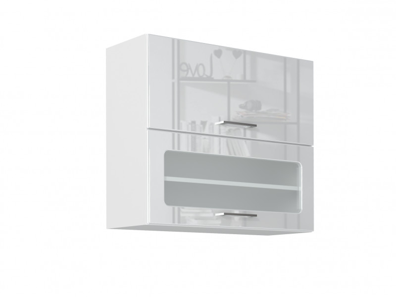 White High Gloss Glass Kitchen Wall Cabinet 80cm Cupboard 800 Display Lift Up Door Unit - Rosi (STO-ROSI-WS80-GRF/2-BI-BIP-KP01)