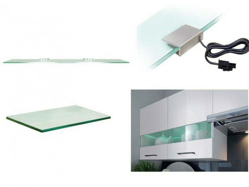 Modern Clear Glass Shelf with LED Lights for 80cm Kitchen Wall Unit from Junona Range  - Junona  (K22-G2W/80/57_OPCJA-BK-KPL01)