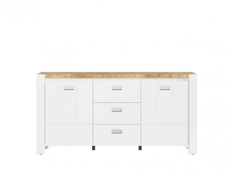 Country Cottage Large Sideboard Storage Cabinet Unit 3-Drawer White/Oak - Dreviso (S378-KOM2D3S/160-BI/DWM/BI)