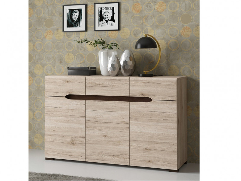 Large Sideboard Dresser Cabinet with Drawers Light Oak finish - Elpasso (KOM3D3S)