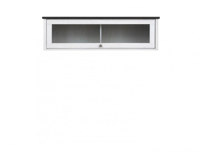 Wall Glass Cabinet White Wash Wood Effect - Porto (S322-SFW1W-DBV-KPL01)