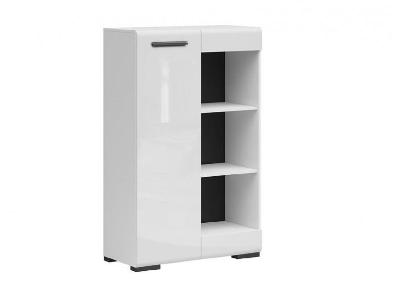 Modern White Gloss Open Bookcase Shelving Display Storage Shelf Unit Reversible Cabinet - Assen (S513-SFK1D/13/8-BI/BIP-KPL01)