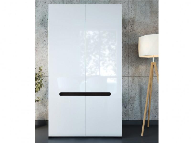 White High Gloss Modern Two Door Double Wardrobe with White Gloss/Wenge Dark Wood Effect/Black Gloss Inserts - Azteca Trio (S504-SZF2D/19/11-BI/BIP-KPL01)