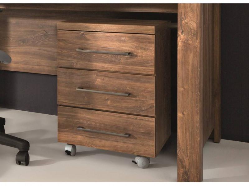 Modern Pedestal Drawer Unit Home Office Mobile Storage 3 Drawers Medium Oak Effect - Gent (S228-KON3S/6/4-DAST-KPL01)