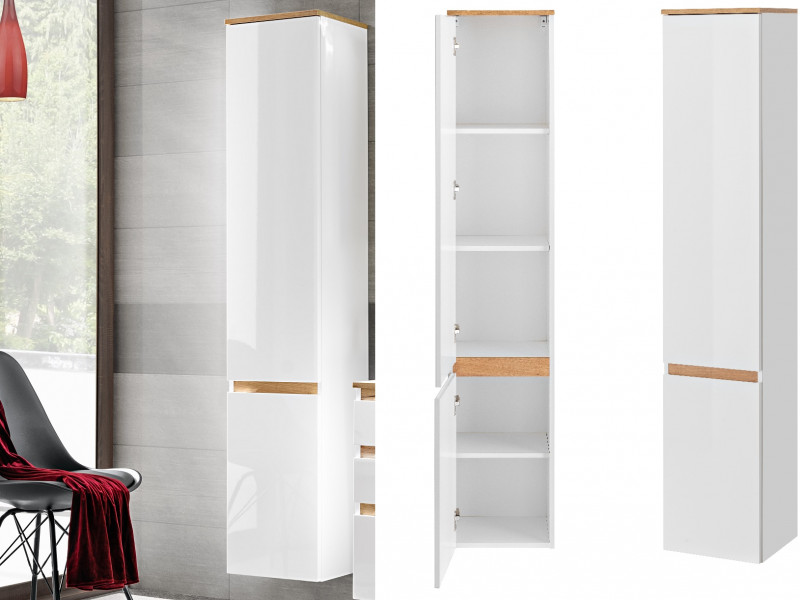 Modern Wall Hung Tall Bathroom Cabinet Storage Tallboy Unit White Gloss Oak - Platinum (PLATINUM_800_WHITE)