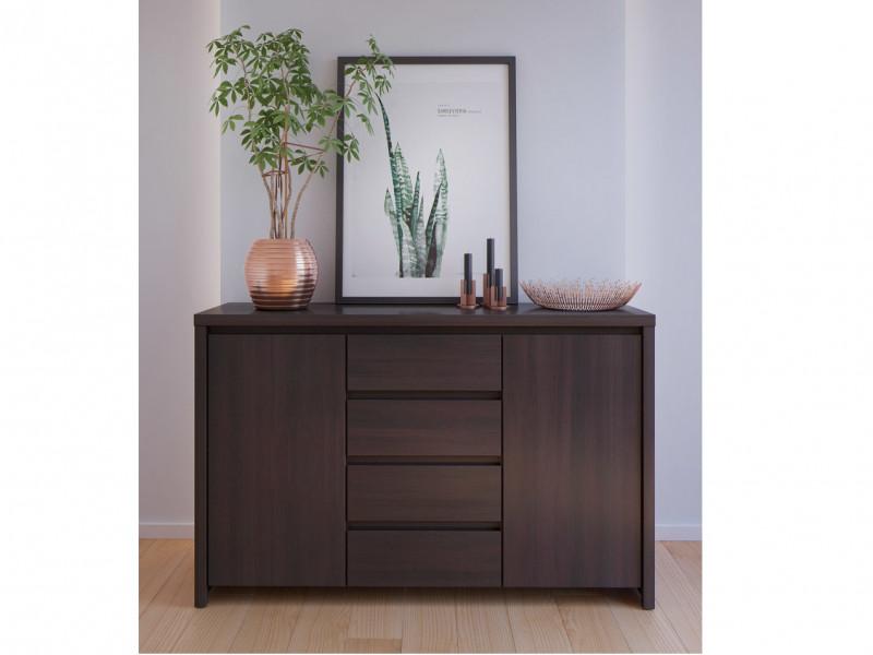 Modern Large Sideboard Dresser Cabinet Storage Drawers Dark Wood Wenge - Kaspian (S128-KOM2D4S-WE/WE-KPL03)
