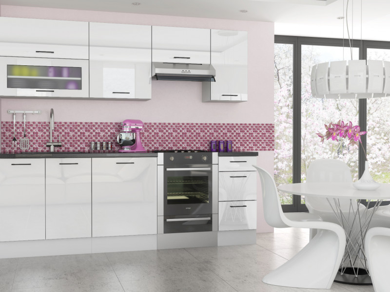 White high gloss high quality modern kitchen units for Kitchen unit set