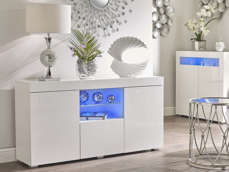 Modern Sideboard Glass Display Cabinet Lowboard White High Gloss Blue LED - Lily (STO-LILYGLASS-BI/BIP-KP01-LED-BLUE)