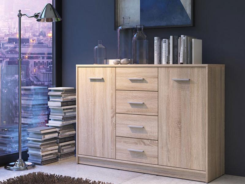 Sideboard Dresser Cabinet Modern Living Room Storage - Nepo (S301-KOM2D4S-BI/DSO-KPL01)