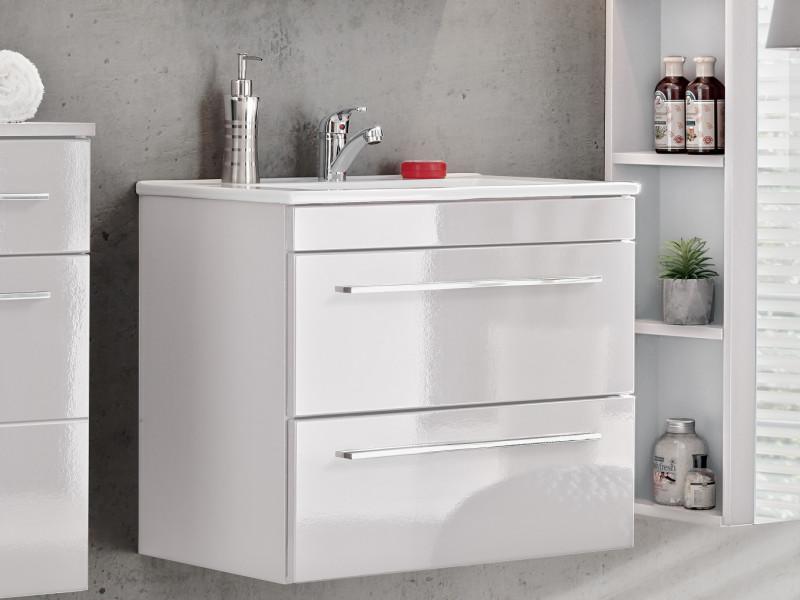 Modern Vanity Bathroom Cabinet Unit with Ceramic Sink White Matt/White Gloss  - Twist (TWIST_820_WHITE+CFP-2060_RB)